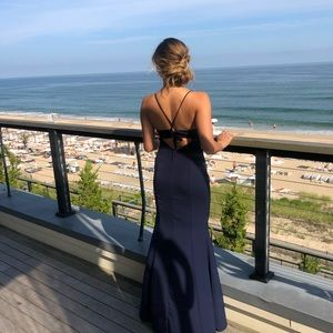Navy blue gown from Revolve